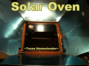 Solar Oven for electricity-free cooking. Using manual tools and implements is slower and takes more effort on my part, but they don't use electricity so they're much more gentle on the environment. #TexasHomesteader