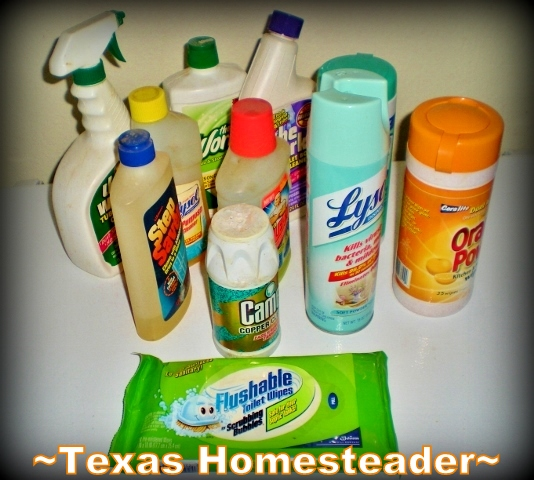 Cleaners with Chemicals. There are many easy ways to make do with what you have, keeping you out of the stores. Good for the environment, good for your wallet! #TexasHomesteader