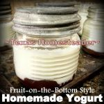 Homemade yogurt in single-serve jelly jar, fruit on the bottom. #TexasHomesteader