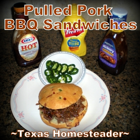 Leftover pork roast into BBQ sandwiches is delicious. The slow cooker is a convenient way to cook pulled pork. Add jalapenos and sauce! #TexasHomesteader