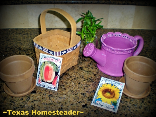 Seed pack, pot, soil & decorative container - PERFECT! This gift came from my heart didn't cost much & it only took a few minutes to assemble. #TexasHomesteader