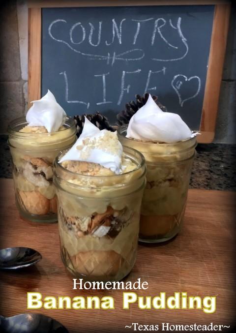 Healthy wholesome ingredients for homemade banana pudding - skim milk, real butter, flour, egg yolk, sugar, and vanilla, plus bananas & wafers #TexasHomesteader