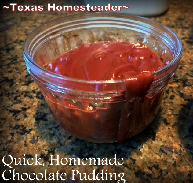 HOMEMADE CHOCOLATE PUDDING, not much more time than it takes to open a box of the powdered commercial stuff but with wholesome real ingredients #TexasHomesteader