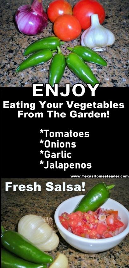 Grow veggies in your garden to make eating your vegetables FUN! Fresh salsa. #TexasHomesteader