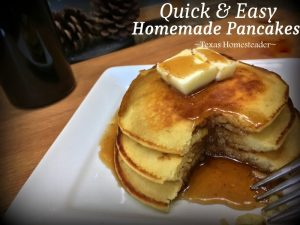 Homemade pancakes. 30-DAY GROCERY NO-SPEND CHALLENGE! No money spent on food for a full month - see how we survived our FINAL WEEK! Tips & recipes included #TexasHomesteader