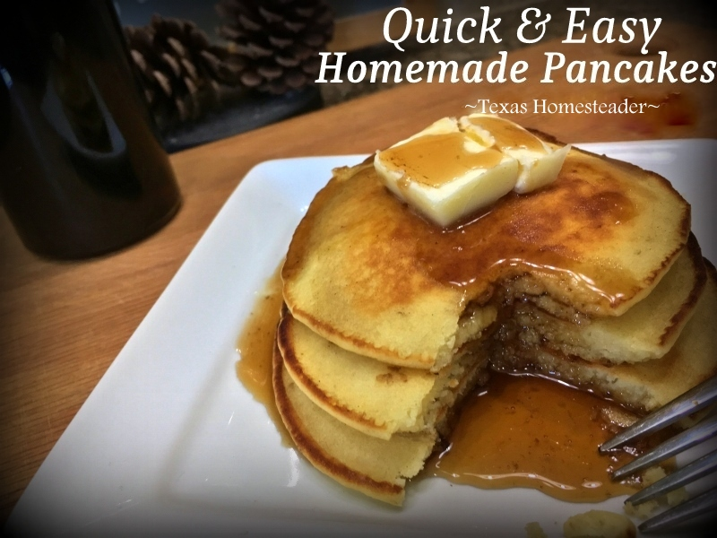 Pancakes are a delicious yet cheap meal. There Are LOTS Of Super-Easy Ways To Save On Groceries to cut the budget. Come See What Works Best For Us. #TexasHomesteader