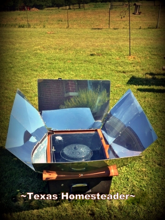 I use my solar oven often especially when it's hot outside. It keeps cooking heat outside where it belongs! Today I'm cooking BBQ pork. #TexasHomesteader