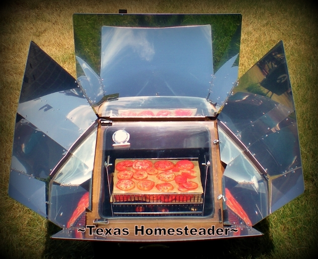 Did you know you could use a solar oven to dehydrate produce? Then they take no additional energy to store & take up very little space! #TexasHomesteader