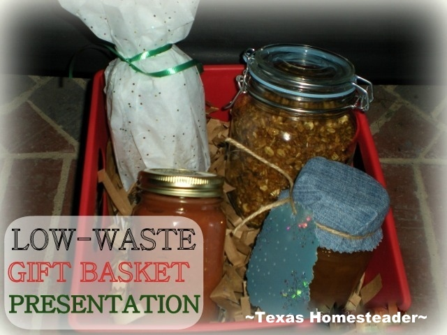 Our gift baskets are jars of homemade food in reusable jars in a handy tub. Brown paper can be composted or used in their fireplace. #TexasHomesteader