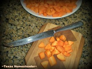 Chopping Ugly Carrots To Uniform Size. Don't Waste Food! Produce doesn't have to be beautiful to be delicious. See how I play fairy godmother to some ugly carrots. #TexasHomesteader