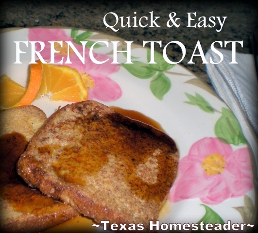 Stopping Food Waste. To save stale bread that was on the verge of going bad I made french toast. You can take food that's less appetizing and turn it into something delicious! #TexasHomesteader