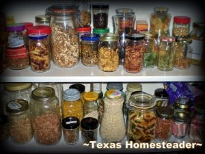 Repurposing glass jars for storage. REDUCING TRASH IN THE KITCHEN to make a huge impact in reducing the amount of landfill trash spilling from your home. It's EASY! #TexasHomesteader