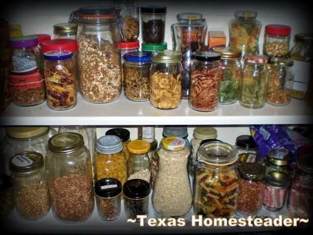 Repurposed glass jars in the pantry. Repurposing items from their original use before throwing away. Read what we do with glass and plastic jars and holey socks. #TexasHomesteader