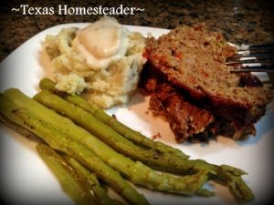 With so much wild-game ground pork I made savory meatloaf using the 'cook-once-eat-twice' method of cooking. Check out my recipe! #TexasHomesteader