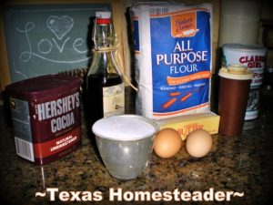 Homemade Brownie Ingredients. My brownie recipe makes delicious soft brownies - with just one bite you're transported into chocolate heaven. Check out my easy recipe! #TexasHomesteader
