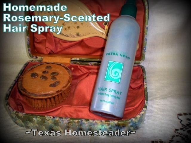 Homemade Hairspray using ordinary ingredients. See my method for making hairspray using a repurposed hairspray bottle. #TexasHomesteader