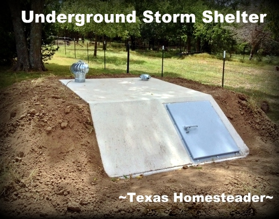 When bad storms hit I needed SAFETY from the storm! So we bought & had installed an underground storm shelter. #TexasHomesteader