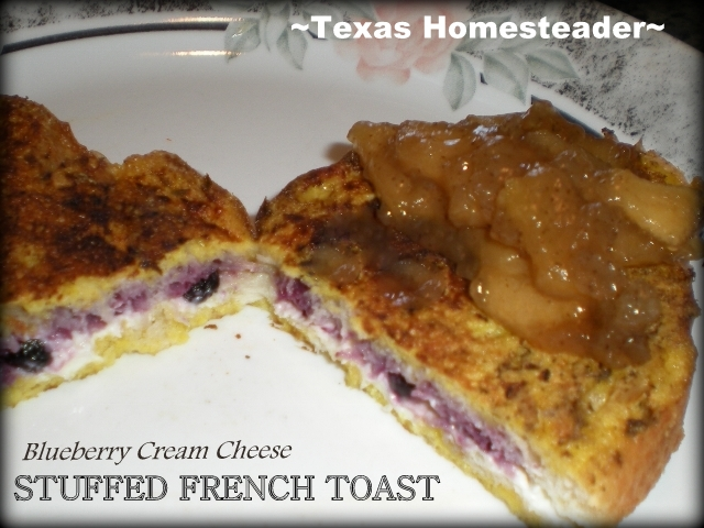 It's super easy to make this fancy-schmancy blueberry-stuffed french toast to impress company or just enjoy a special treat for yourself. #TexasHomesteader