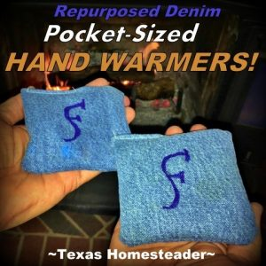 Repurposed Denim Pocket-Sized Handwarmers. I love all things denim! Come see 4 quick projects I've done to repurpose denim from worn jeans into useful things around our home. #TexasHomesteader