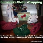 Zero-waste wrapping - furoshiki cloth - no tape, ribbons or bows needed. Just folk, tuck & tie. #TexasHomesteader