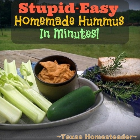 Flavorful Homemade Hummus In Minutes Using Just A Few Simple Inexpensive pantry Ingredients. It Really IS Stupid-Easy To Make!! Blended chickpeas, coconut oil and spices #TexasHomesteader