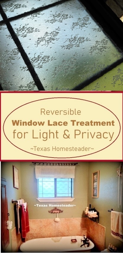The bathroom window required privacy, but I hated the ugly mini blinds. I replaced them with lace attached right on the window glass. #TexasHomesteader