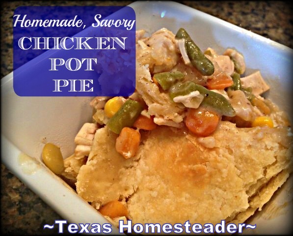 Chicken pot pie comes together quickly with leftover chicken & canned vegetables. #TexasHomesteader