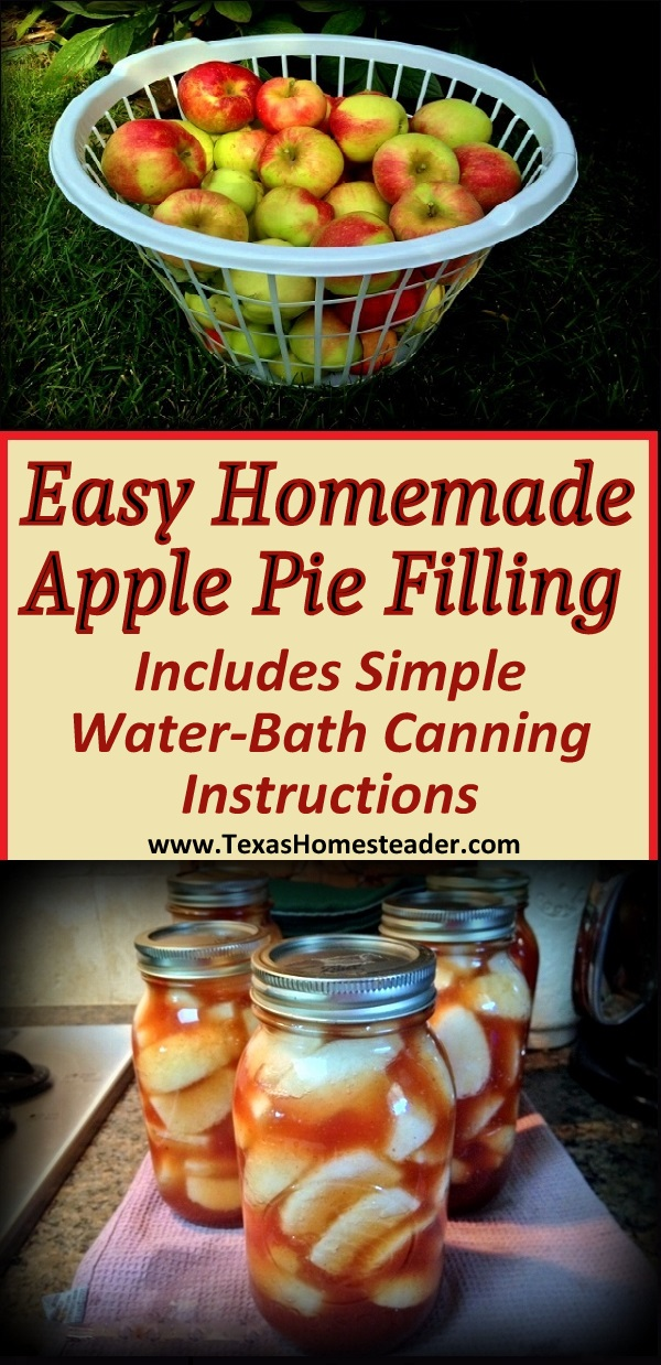 This simple apple pie filling recipe is straightforward. And canning requires just a 20-minute stint in a water-bath canner #TexasHomesteader