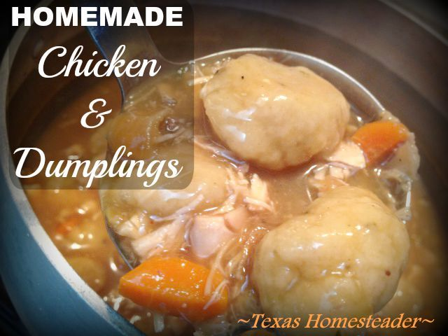 Leftover chicken makes it it quick to make chicken & dumplings from scratch. It's a versatile recipe that costs pennies per serving! #TexasHomesteader