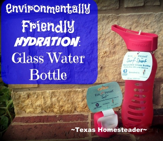 I hate plastic, and I hate disposable water bottles or cups. I'm reviewing a 60% Recycled GLASS reusable water bottle - see what I found. #TexasHomesteader