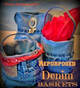 Repurposed Denim Baskets. I love all things denim! Come see 4 quick projects I've done to repurpose denim from worn jeans into useful things around our home. #TexasHomesteader