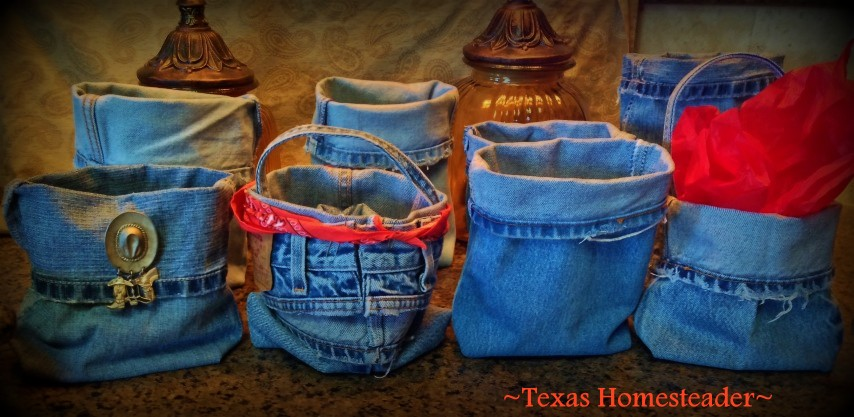 Quick & Easy Denim Baskets repurposed from old worn jeans. I don't sew well, so If *I* can do it, anyone can. So CUTE! #TexasHomesteader