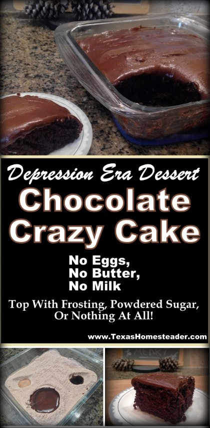 This depression-era Chocolate Crazy Cake requires no eggs, no butter, no milk - heck not even a mixing bowl! Simple, delicious & a secret ingredient to make the chocolate bold! #TexasHomesteader