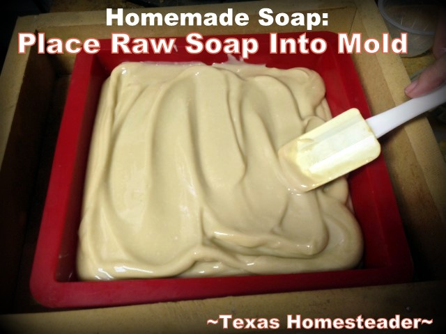 Place Raw Soap Into Mold. COLD PROCESS LAVENDER / ROSEMARY SOAP. Making homemade soap is easy and fun, and makes great gifts! See my recipe complete with photos. #TexasHomesteader