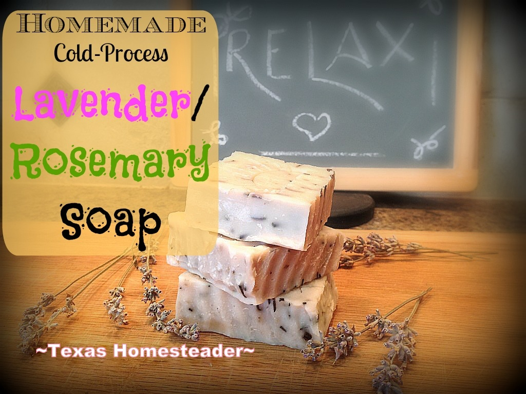 COLD PROCESS LAVENDER / ROSEMARY SOAP. Making homemade soap is easy and fun, and makes great gifts! See my recipe complete with photos. #TexasHomesteader