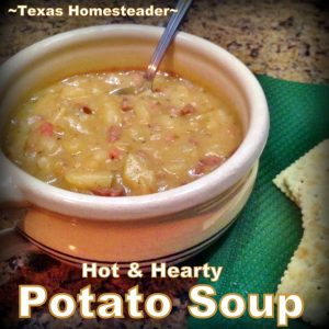 MEATY POTATO SOUP For An Inexpensive Bone-Warming Meal. This Soup Cost Just Pennies But There Was Enough Left For Us To Eat Several meals #TexasHomesteader