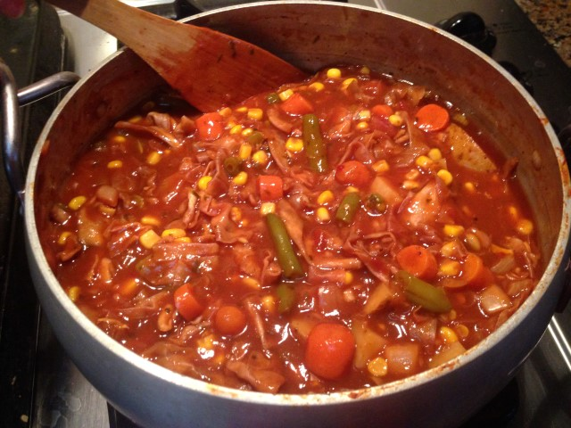HOT & HEARTY CABBAGE STEW! I wasn't trying to lose weight but the scales inched downward when enjoying this delicious soup for a week's worth of lunches. #TexasHomesteader
