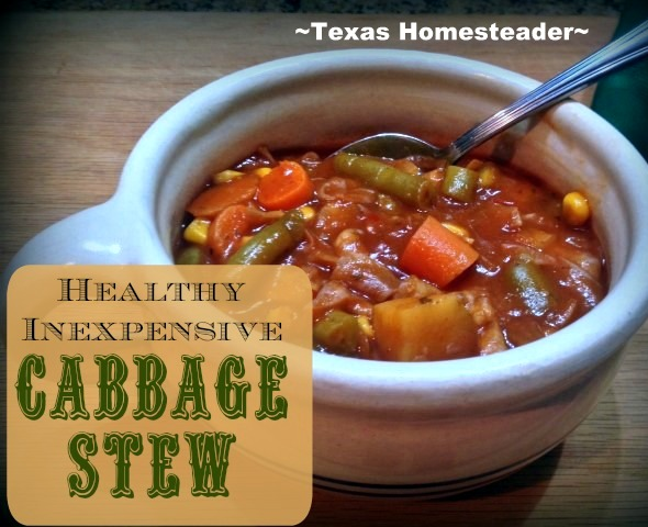 I use dehydrated cabbage in my favorite cabbage stew. #TexasHomesteader