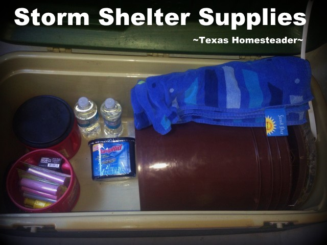 Storm shelter supplies. TORNADO SEASON is right around the corner so I'm preparing our storm shelter for those late-night runs to safety. See my preparations. #TexasHomesteader