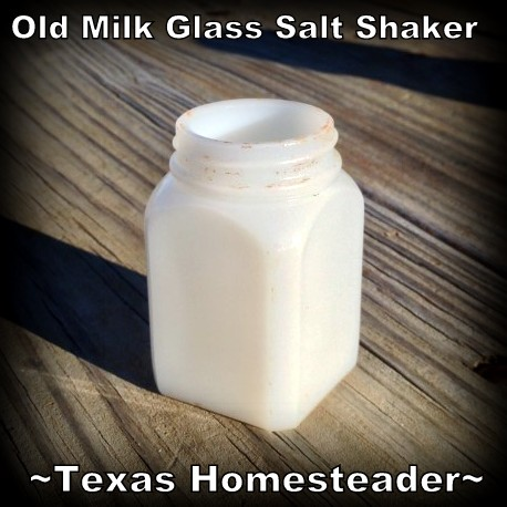 Vintage Milk Glass Salt Shaker. WHISPERS OF PAST LIVES: The previous homesteaders home burned back in the 1950's, but I can read their stories by what they left behind #TexasHomesteader