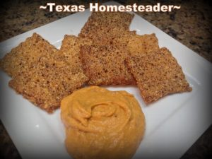 Homemade crackers with hummus. Come see 5 frugal things we did at our homestead to save the environment and some cold hard cash too during this self isolation period. #TexasHomesteader