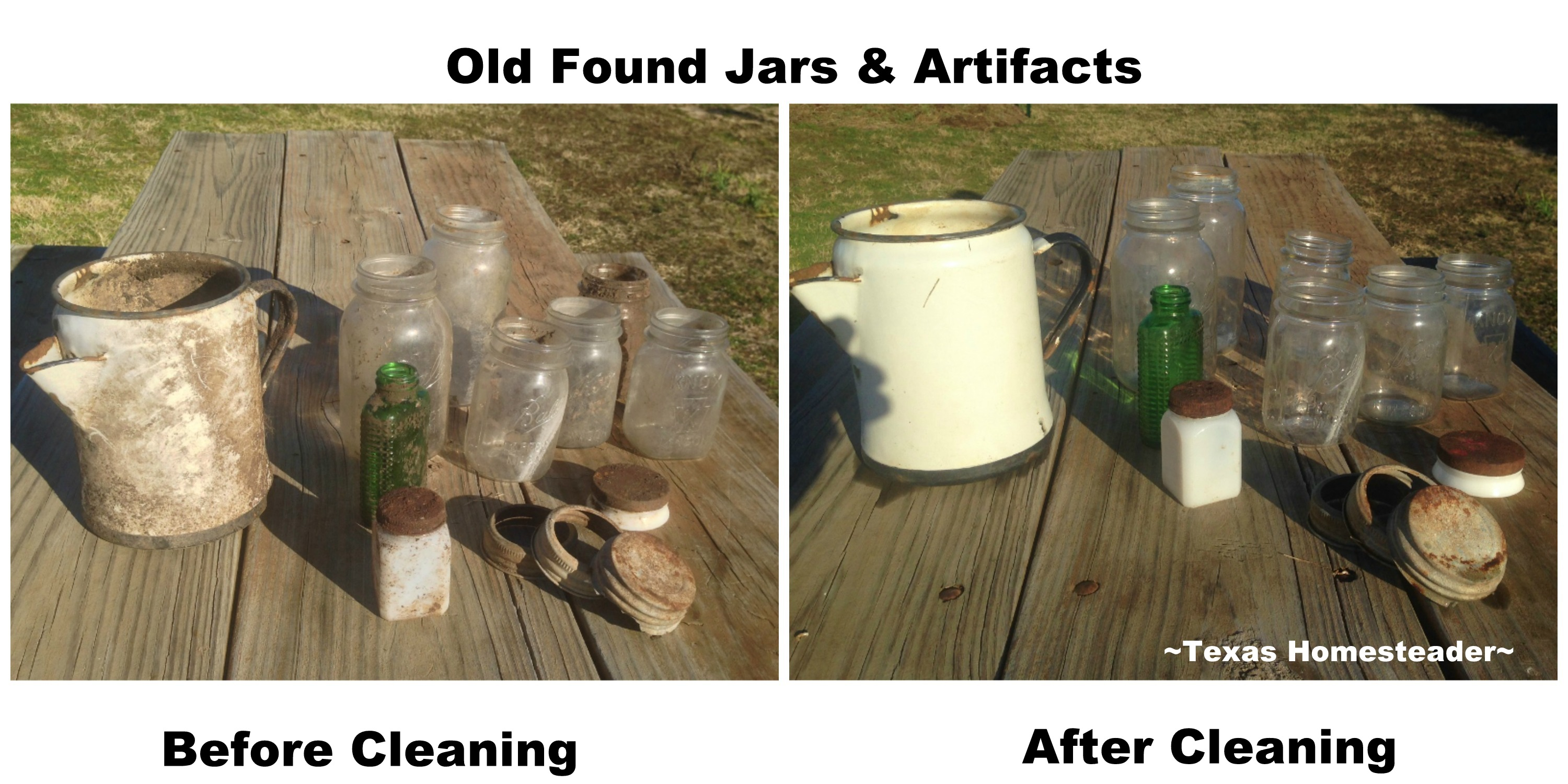 Old Found Jars and artifacts. WHISPERS OF PAST LIVES: The previous homesteaders home burned back in the 1950's, but I can read their stories by what they left behind #TexasHomesteader