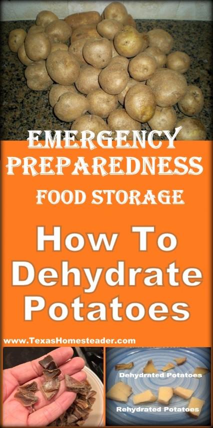 Emergency preparedness food storage - how to dehydrate potatoes. #TexasHomesteader