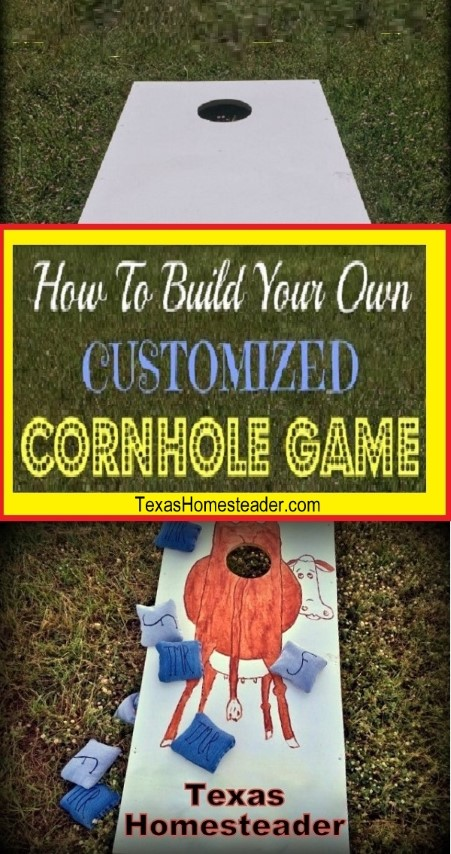 We built our own customized cornhole game and painted a funny ranch-themed cow design on it. #TexasHomesteader