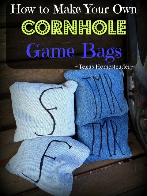 We needed 8 bags to go with our custom Cornhole Game. Look how easy it is to make your own Cornhole Game Bags - they turned out GREAT! #TexasHomesteader