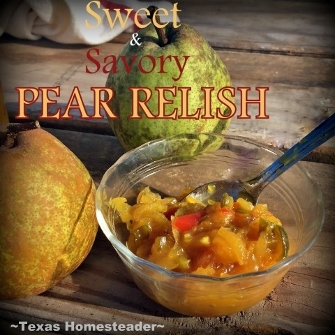 Pear relish. I'm not typically a fan of Sweet & Savory but when you combine pears with onions, peppers and mustard? MAGIC! Check out my Pear Relish. #TexasHomesteader
