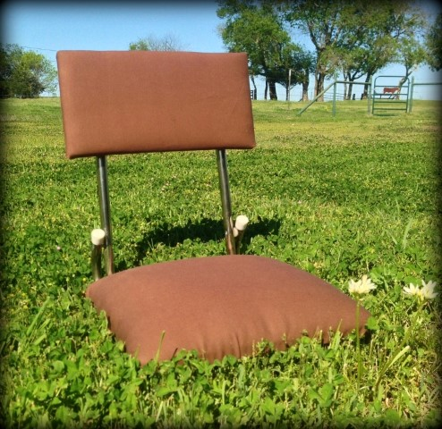 "This stadium seat was U-G-L-Y harvest gold with torn edges and foam sticking out but my aunt said ""We can recover it easily!"" #TexasHomesteader"