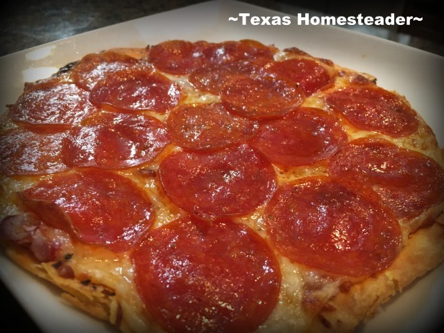Pepperoni tortilla pizza. Little time for a homemade pizza & no money to order out? Check out this delicious option - A quick tortilla pizza. #TexasHomesteader