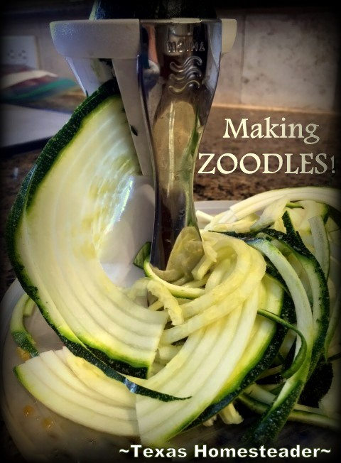 Making ZOODLES! Veggetti got the highest recommendations from my FB followers. So I bought one to make low-carb noodles 'Zoodles'. See how I make 'em! #TexasHomesteader