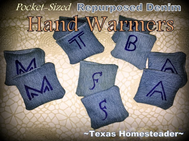 Repurposed denim scraps, long-grain rice and a few drops of essential oil. These pocket-sized hand warmers are perfect for kids! #TexasHomesteader